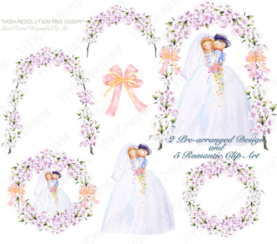Wedding Clip Art Bride And Groom Flower Wreath Floral