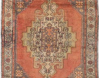 Antique very nice hand knotted wool Turkish rug 4.6 x 7.5