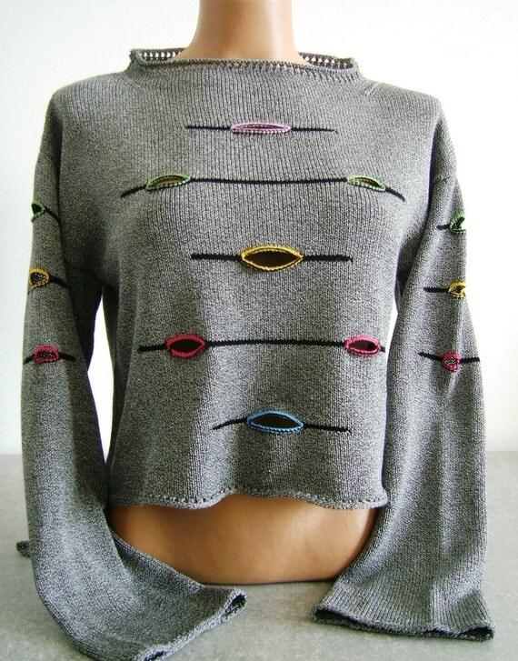 Trendy sweater Chic Fashion Black White melange cotton pullover  long sleeves Original Design Women  loose knit boho jumper Womens wear