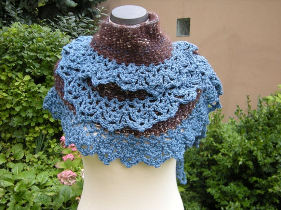Hand knit crochet shawl scarf stole scarf Brown Blue