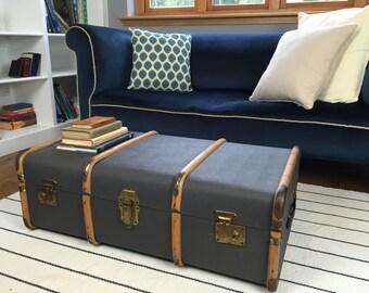 Blue Vintage Steamer Trunk with Wood Detailing, Overpond