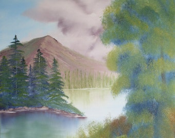 "Oil Painting Landscape Original - Quiet Lake - 18""x24"""