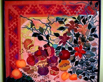 Original silk painting,Painting on silk,Batik,Silk art,Handpainted silk,Armenian Jewish symbol,Pomegranate,Fruits,Leaves,Carpet ornament