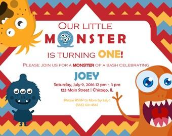 Monster Birthday Invitation, monster bash