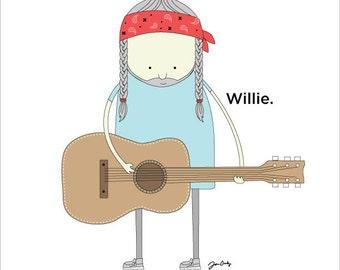 Willie Nelson print. Willie Nelson Art. Willie Nelson Wall Decor.  Nursery Wall Decor.  Music Nursery Wall Decor.  Guitar Art.