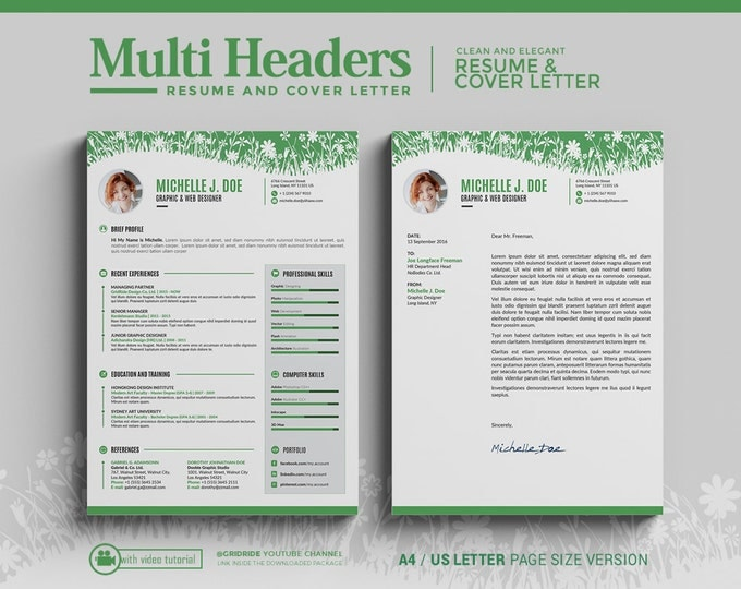 Creative Resume Template / CV Template + free Cover Letter. Professional and Creative Word Resume Design with 3 Header Designs