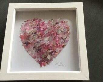3D BUTTERFLY HEART ART Handmade Shades of Pink Girl