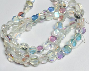 Glass Coin Shaped Beads with AB Finish - 150 Pieces - #303