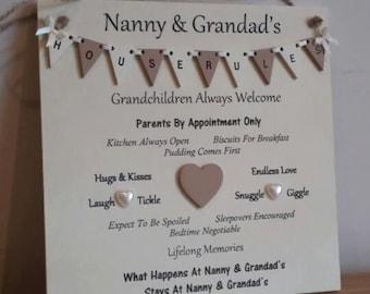 Grandparents House Rules Plaque