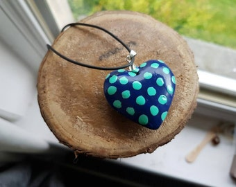 Hand painted Polkadot Heart Pendant Necklace - Turquoise and Cobalt