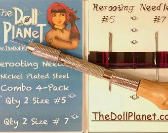 Doll Hair Rerooting Tool Kit  with 4 Cut Steel Needles for Rerooting Dolls and Rehairing My Little Pony International Ship