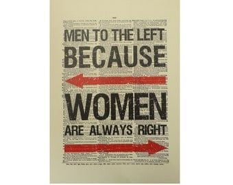 Vintage Inspired Men To The Left Dictionary Page Art Print P010