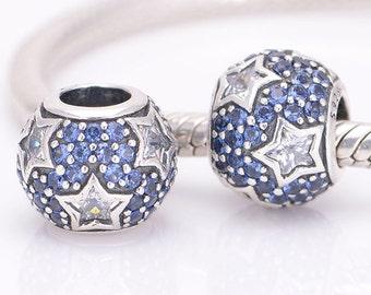 Genuine Pandora Midnight Blue Pave Stars Charm S925 Ale 791382CZ