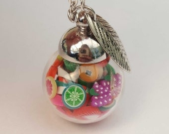 Necklace silvertone ball glass with fruit Fimo