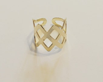 18k Gold Plated Crosshatch Wrap Ring
