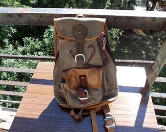 Little Cute Vintage Leather Backpack Leather Backpack Rucksack Hiking Bag Bag With Leather Straps Unused Climbing bag Messenger Bag