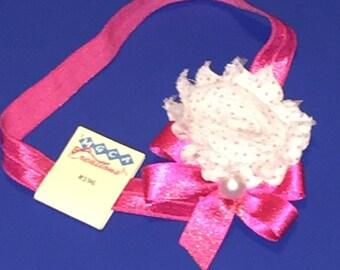 White Rose Polka Dot Headband #196