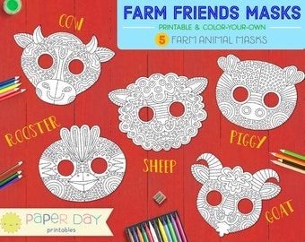Printable Farm Animal Masks - pig, cow, sheep, goat, rooster, chick, piglet, diy, mask, cute, activity, coloring