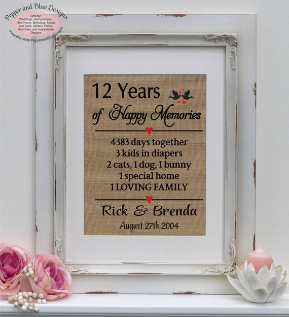 12 Wedding Anniversary Gift Ideas: 12th Anniversary Gifts 12 Years Married 12 By