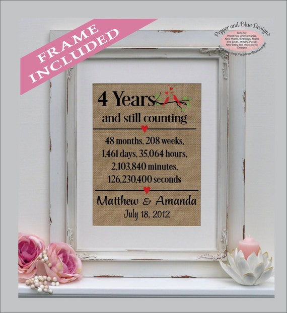 What Is 4th Wedding Anniversary Gift: 4th Anniversary Linen Print 4 Year Linen Traditional Gift