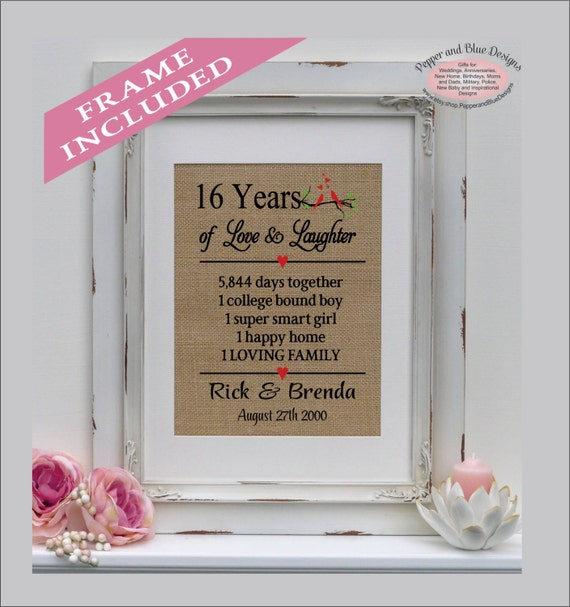 wedding anniversary gifts, 16 years married, 16 years together, gift ...