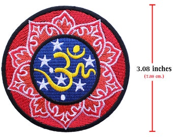 1 pcs. Aum om Infinity Hindu Hinduism Style-1 Embroidered Iron on Patches.