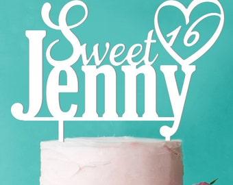 Personalized Sweet 16 Heart Cake Topper (FJM-HEART1656-LXJM)