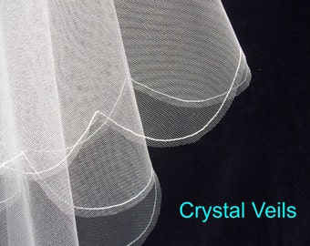2 tier wedding veil - large scallop - all sizes - English made.