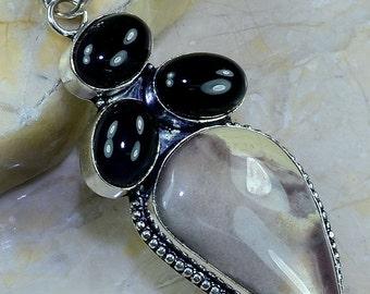 Black Onyx and Jasper Pendant, Silver Bale