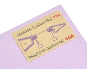 Pack of 25 Unused Telephone Centennial/Alexander Graham Bell Postage Stamps! - 13c - Vintage 1976 - Unused - Quantity of 25