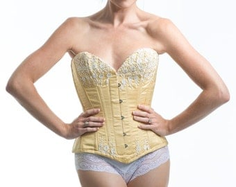 Lace and Silk Dupion Overbust Corset-Sample SALE