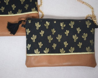 Bag / clutch with chain cactus motif