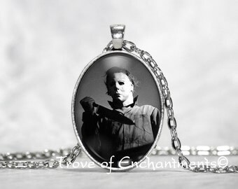 Halloween Michael Myers b&w Photo Image oval glass pendant necklace w/rolo chain