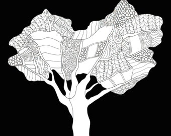 Heart Tree - Limited edition print of pen and ink drawing