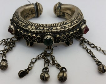 Handmade Vintage pre-1960's Afghan Silver Bracelet w/ Colorful Faceted Glass Insets - Handcrafted in Afghanistan - AB2