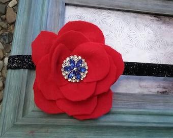 Red felt poppy flower alligator clip/headband- red poppy flower & sapphire rhinestone headband- wool felt shabby chic flower headband