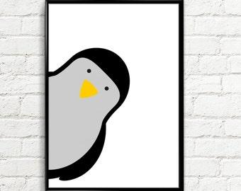 Penguin Poster, Kids Animal print, Nursery Decor, Penguin Print, Scandinavian Nursery Art, animal print, Nursery Print, Kids illustration,