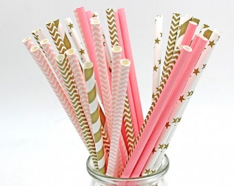 25 Paper drinking straws, party straws, Wedding paper straws, Birthday party straws, picnic straws,cool modern party supplies