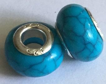 4 Pandora Style Turquoise Blue Beads