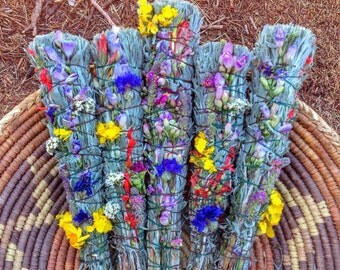 Sage wands with wildflowers