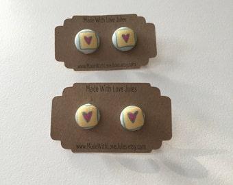 Love heart fabric covered earrings