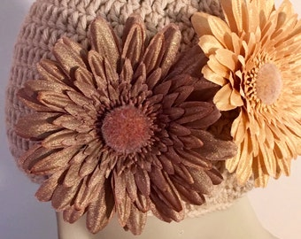 Beige Hat With Two Flowers on the Side