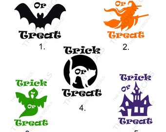 """One Color """"Trick Or Treat"""" Vinyl Decal, Pumpkin Decal, Yeti Decal, SIC Cup Decal, Car Window Decal, Laptop Decal, Vinyl Decal, etc..."""