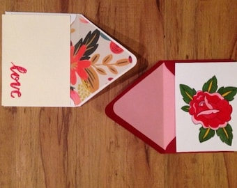"Hand embossed ""love"" card with envelope and flower print envelope liner"