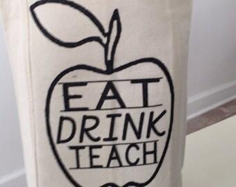 Teacher double Wine Tote- EAT DRINK TEACH