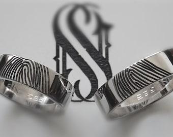 Fingerprint Wedding Bands 14K White Gold Wedding Rings Unique Fingerprint Ring Couple Gold Rings Fingerprint Couples  Ring Set