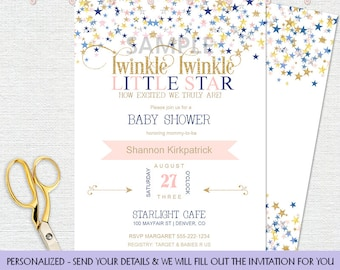 Twinkle Twinkle Little Star Navy & Pink White Background | Gender Neutral | Personalized Digital Invitation