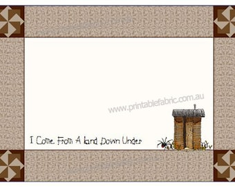 Quilt Label Australian Dunny - I come from a land down under