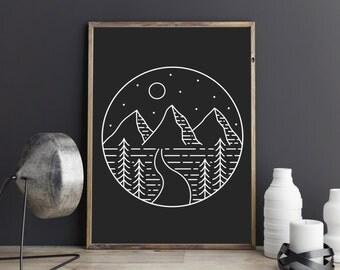 Geometric Print, Black Minimalist, Printable Wall Art, Bedroom Decor, Scandinavian Art, Wall Printable, Illustration Art, Kitchen Art Print