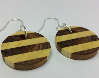 Wood Round Earrings, Horizontal Stripe